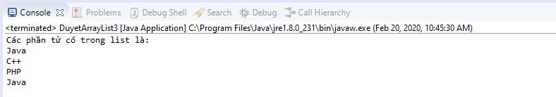 Sử dụng vòng lặp for cải tiến duyệt các phần tử của ArrayList
