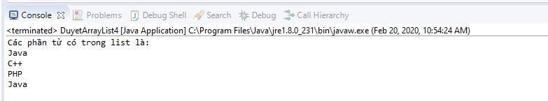 Sử dụng Iterator duyệt các phần tử của ArrayList